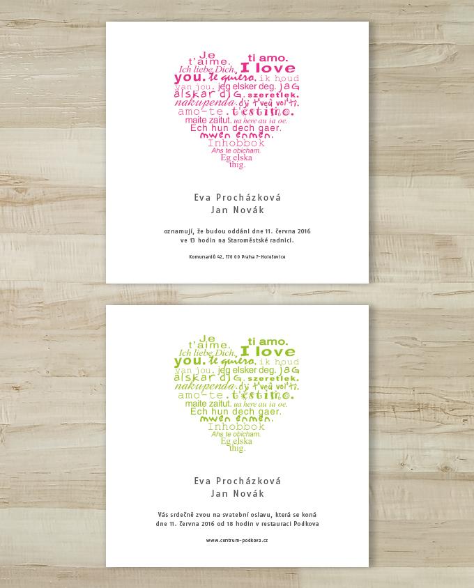 Svatební oznámení Srdce 5