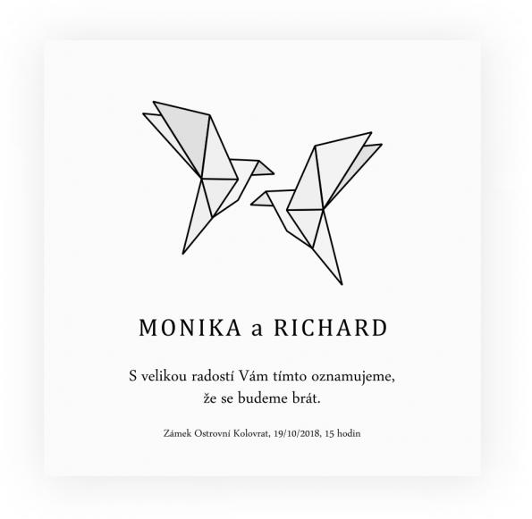 Svatební oznámení Origami Hrdličky